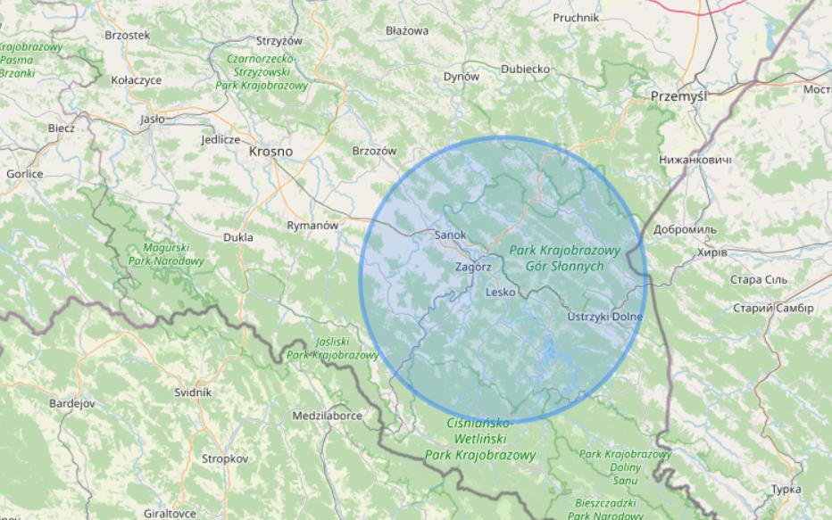 mapa z zasięgiem usług